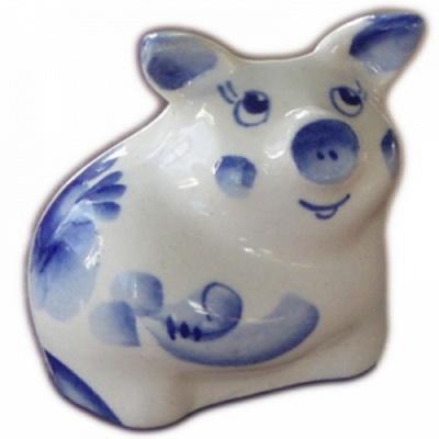 Фигурка свинка гжель