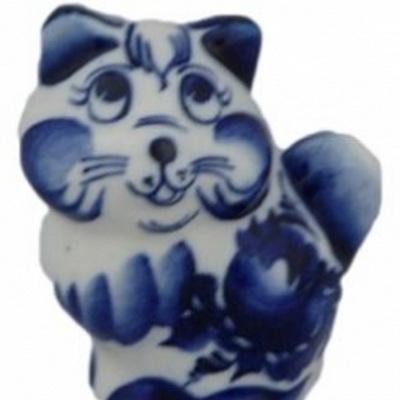 Купить статуэтку кота гжель недорого