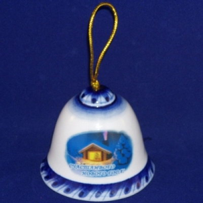 Новогодний сувенир колокольчик гжель