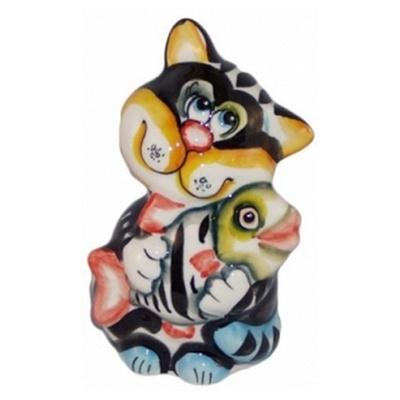 Цветной кот , фарфор, ручная роспись