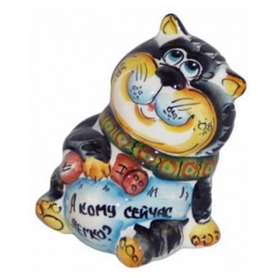 Кот, сувенир из фарфора цветной
