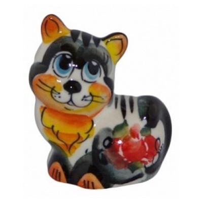 Статуэтка из фарфора кошка цветная