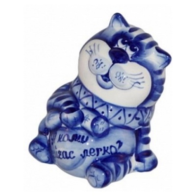 Кот гжельский, сувенир из фарфора