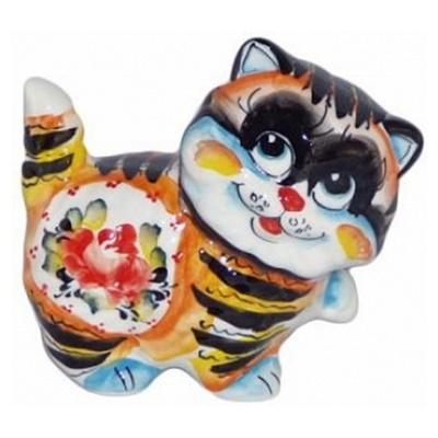 Фарфоровая статуэтка кот с ручной росписью