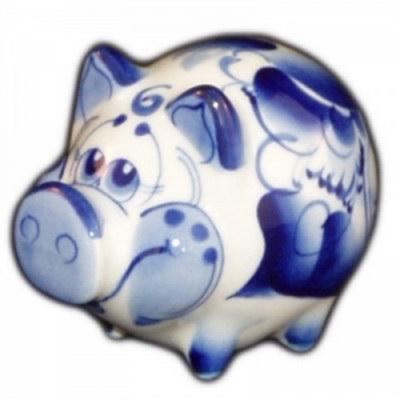 Сувенир свинка гжель