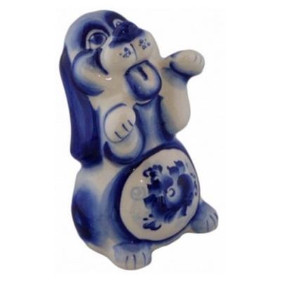 Фигурка собака гжель, символ 2018
