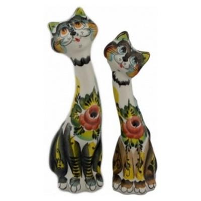 Кот  с кошкой цветные 24 см, арт 10106