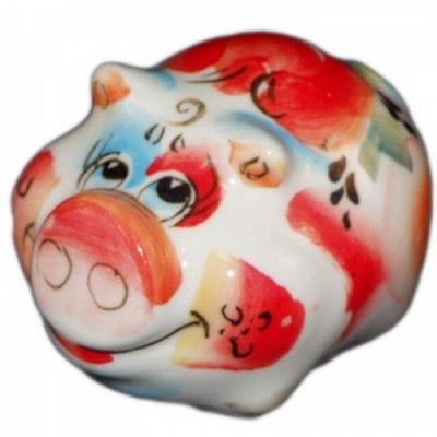 Фигурка свинья из фарфора
