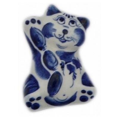 Фарфоровый кот гжель