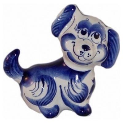 Собака гжель, фигурка из фарфора