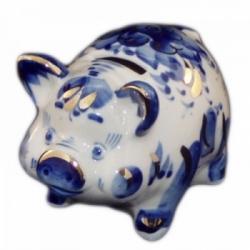 Свинка-копилка гжель с позолотой 9.5 см., арт.2558
