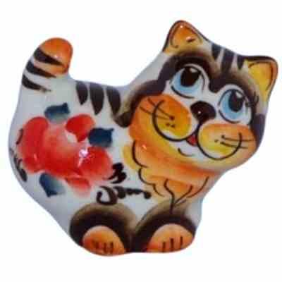 Цветная фарфоровая кошка