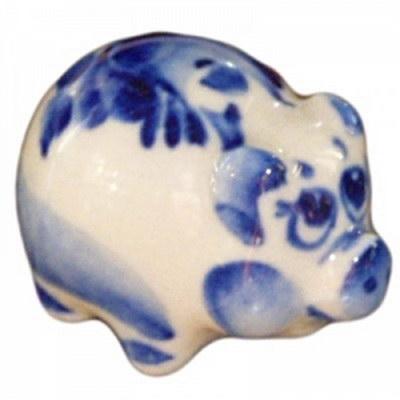 Малая свинка роспись гжель