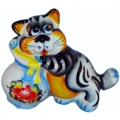 Кот с крынкой цветная роспись
