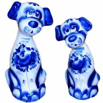 Пара собак с гжельской росписью