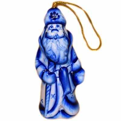 Елочная игрушка Дед-Мороз гжель