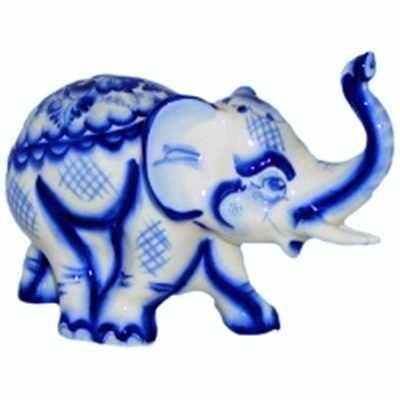 Слон из фарфора, роспись гжель