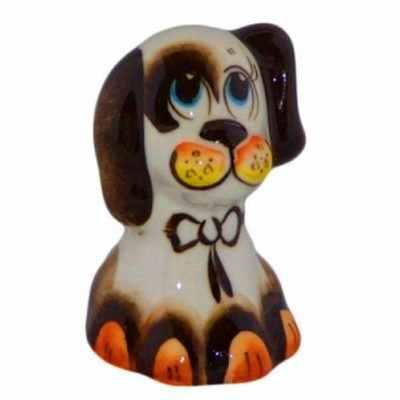 Цветная фарфоровая фигурка собачки