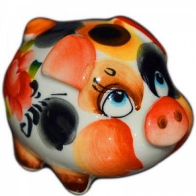 Свинка с цветной росписью