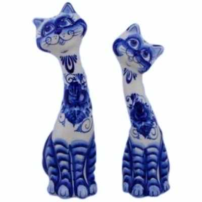 Статуэтка кот и кошка гжель