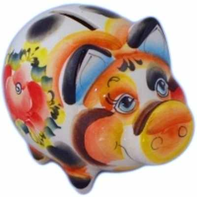 Цветная свинка-копилка из фарфора