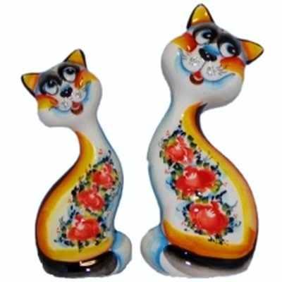 Цветные фарфоровые коты