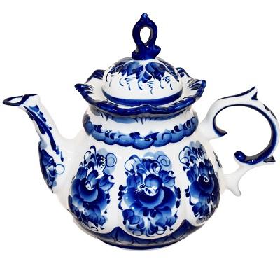 Чайник с гжельской росписью