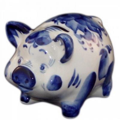 Свинья-копилка роспись гжель