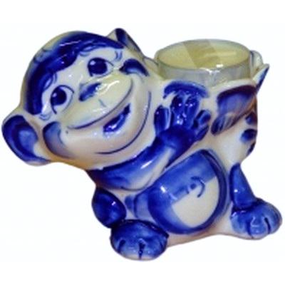 Подсвечник-обезьяна гжель