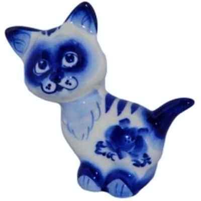 Кот из фарфора с росписью гжель