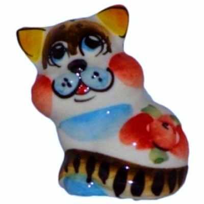 Цветной фарфоровый котик