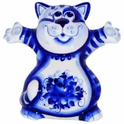 Фигурка фарфорового кота гжель