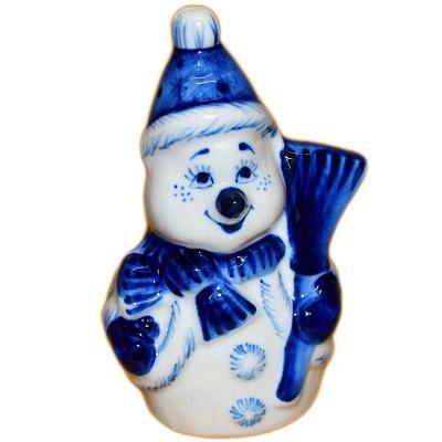 Фигурка Снеговик с гжельской росписью