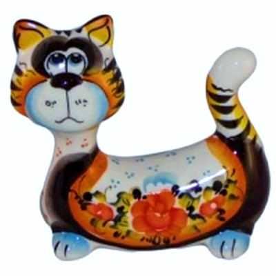 Цветной кот фарфоровый