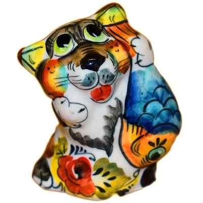 Цветной фарфоровый кот с рыбой