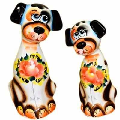 Пара собак цветная роспись