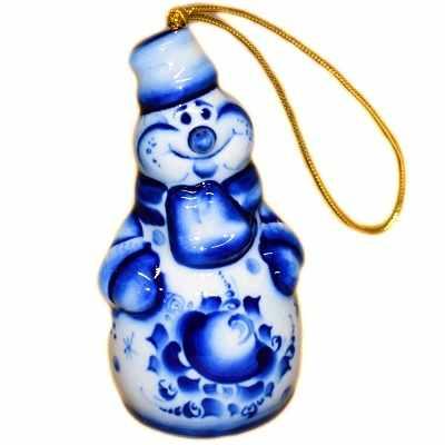 Елочная игрушка Снеговик гжель