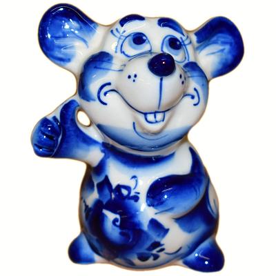 Сувенир мышка с росписью под гжель