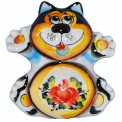 Фигурка кот, ручная работа,  цветная роспись