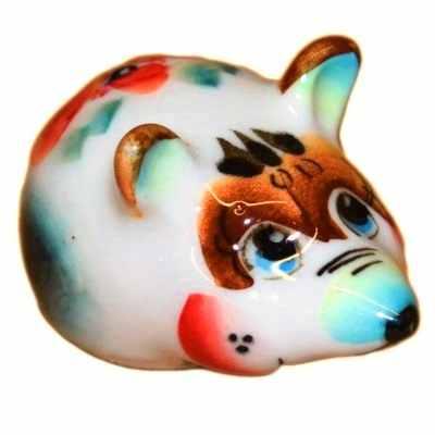 Фарфоровая мышка с росписью