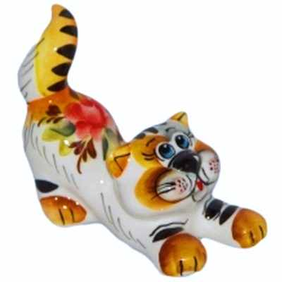 Цветной кот фарфор