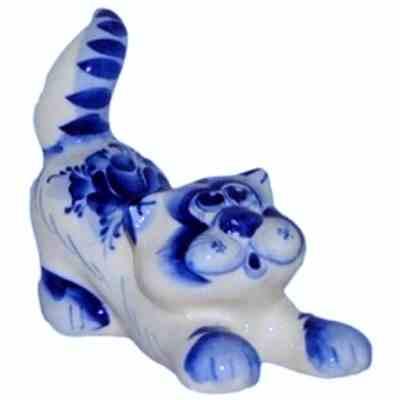 Кот фарфоровый гжельский