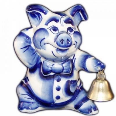 Сувенир свинья с колокольчиком