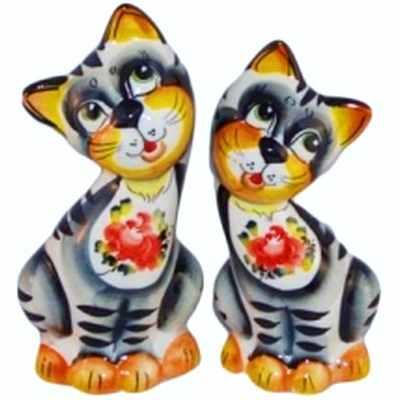 Коты из фарфора, сувенир с ручной росписью