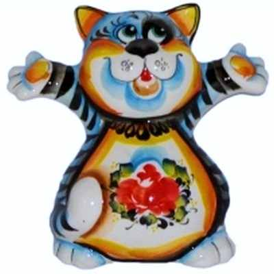 Кот цветной фарфор ручная роспись