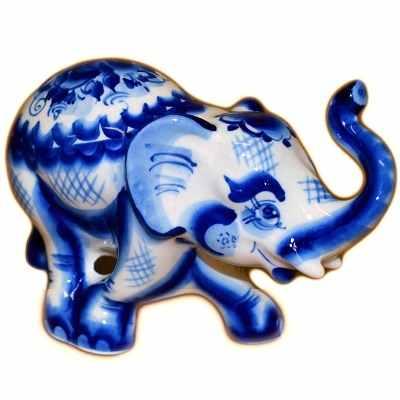 Статуэтка слон гжельский.