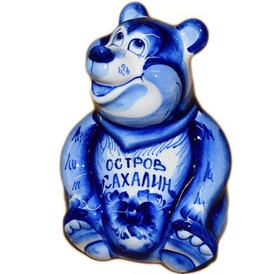 Медведь гжель с надписью