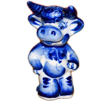 Фигурка быка с росписью Гжель