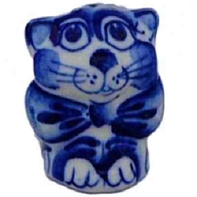 Фигурка кота с гжельской росписью