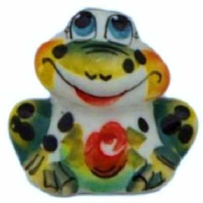 Цветная фигурка лягушки из фарфора